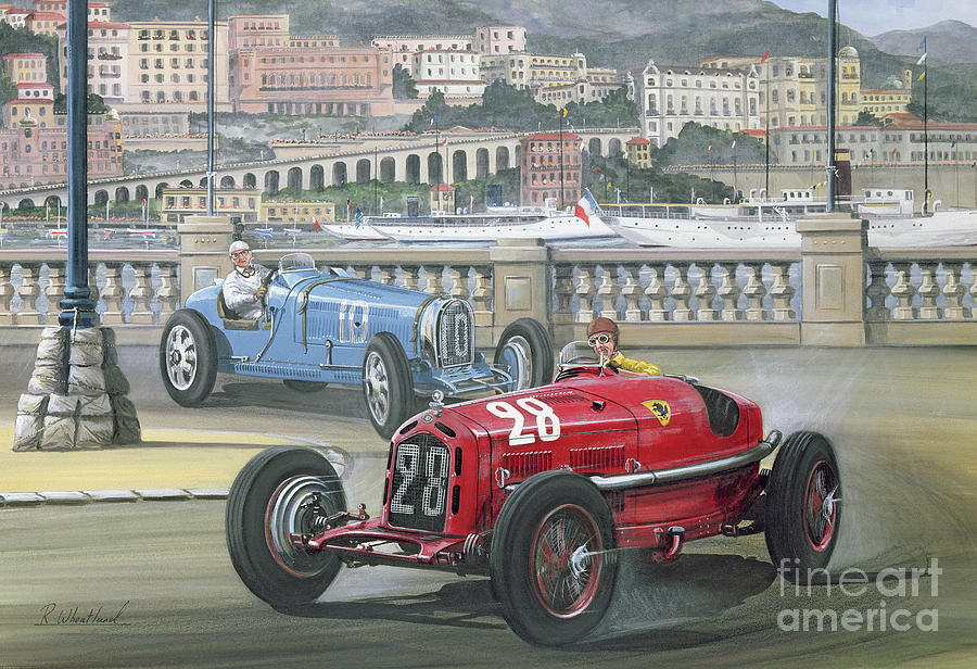 Monaco Painting - Duel On The Harbor Front, Monaco Grand Prix In 1933 by Richard Wheatland