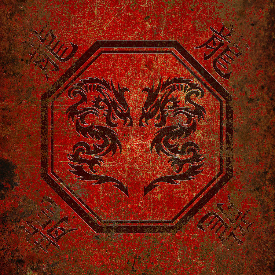 Dueling Dragons In An Octagon Frame With Chinese Dragon Characters Red Tint Distressed by Fred Bertheas