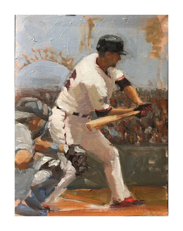 San Francisco Giants Painting - Duffy at Bat by Darren Kerr