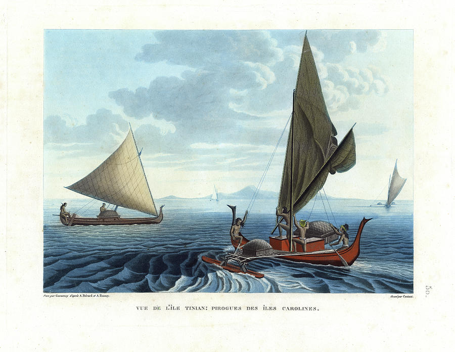 Vue De Lile Tinian: Pirogues Des Iles Carolines Drawing - Dugout Outriggers From The Carolines Seen On Tinian Island by d apres A Berard and A Taunay