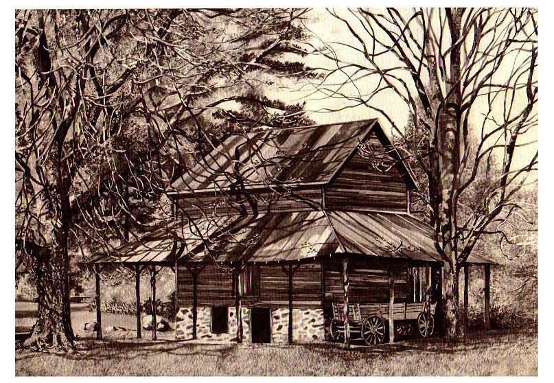 Duke Homestead Tobacco Barn Painting by TBH Fine Art