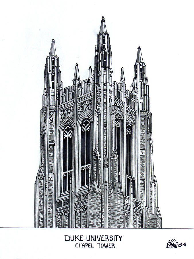 Duke University Chapel Tower Drawing By Frederic Kohli