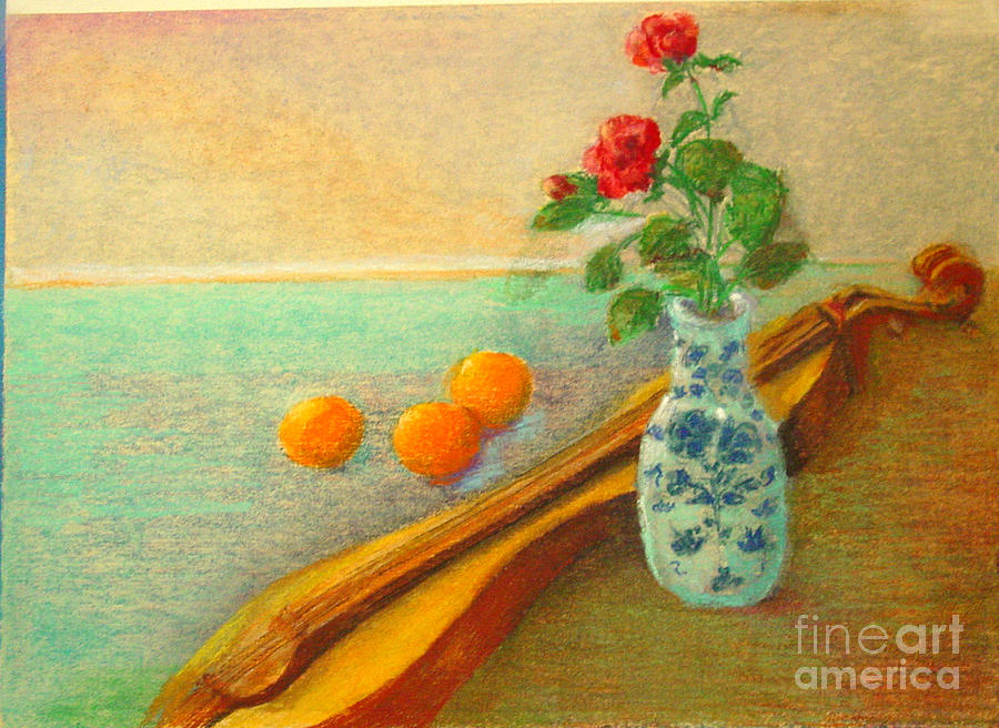 Still Life Painting - Dulcimer And Delft       Copyrighted by Kathleen Hoekstra