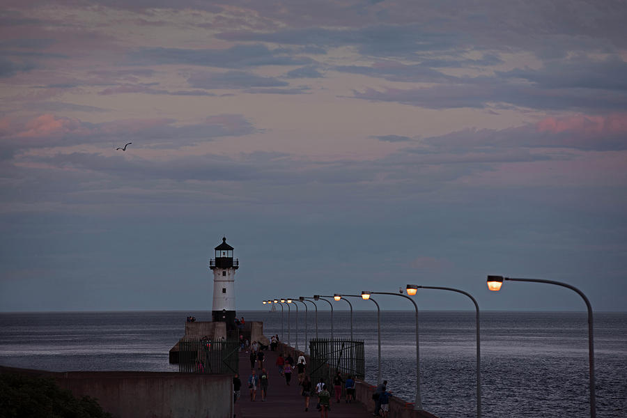 Duluth Lighthouse at Dusk by David Lunde