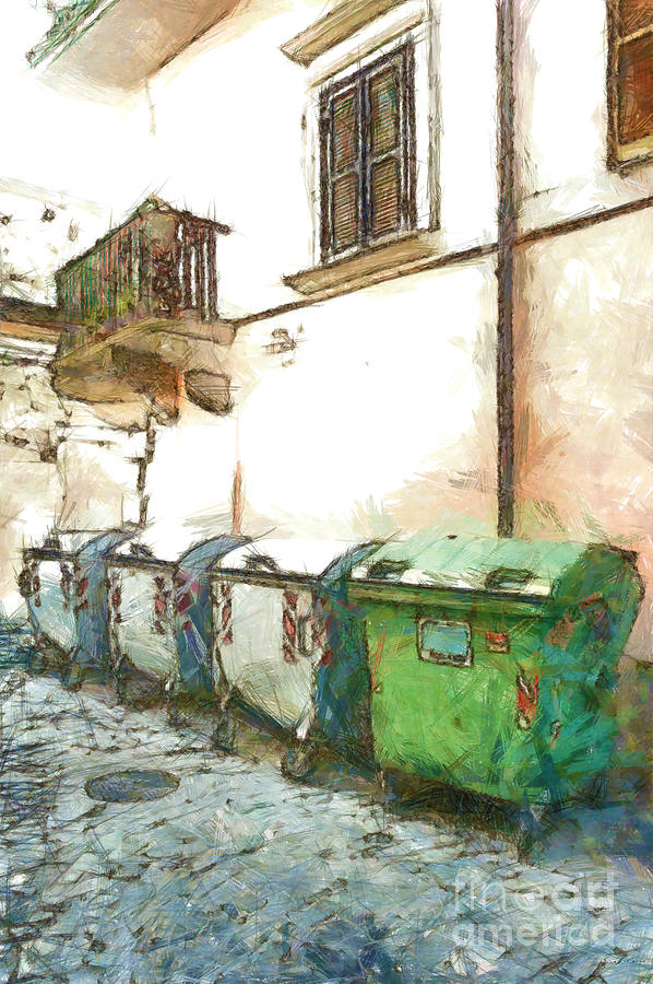 Pencil Digital Art - Dumpster Of Garbage by Giuseppe Cocco