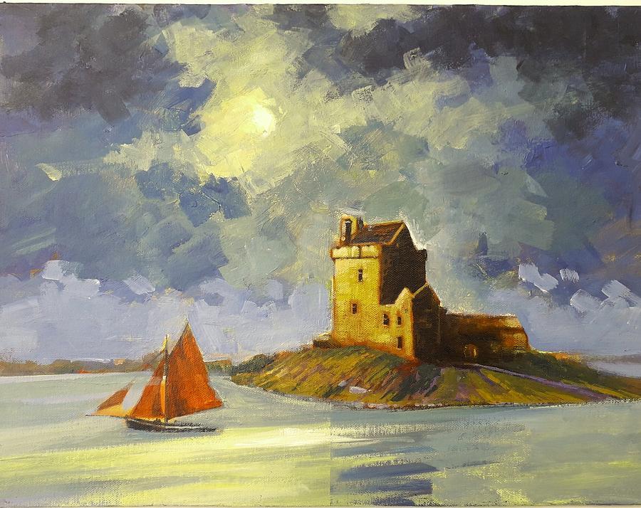 Moonlight Painting - Dun Guaire Castle by Jim Mc Partlin