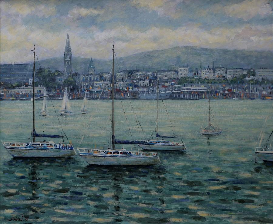 Boats Painting - Dun Laoghaire Harbour Dublin by John  Nolan