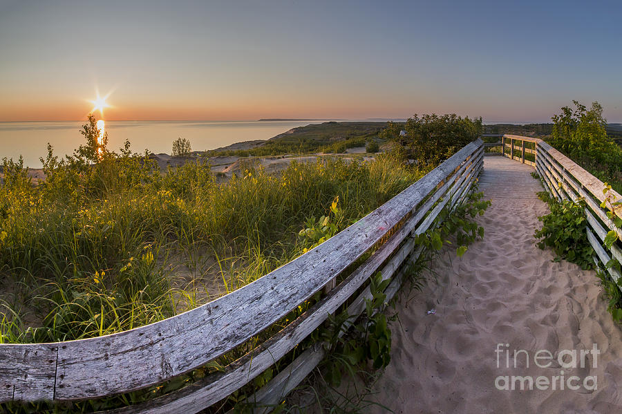 Sleeping Photograph - Dune Boardwalk at Sunset by Twenty Two North Photography