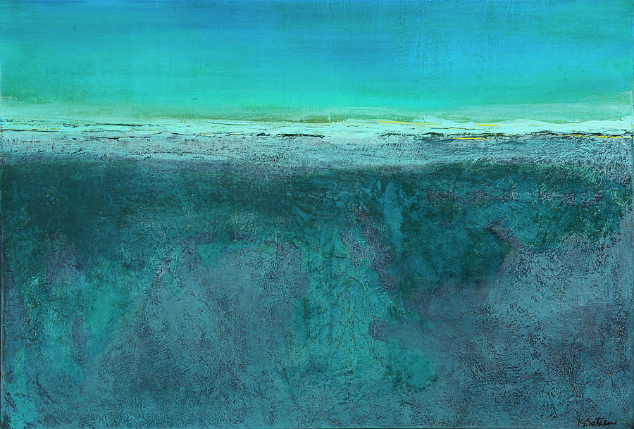 Teal Painting - Dune by K Batson Art