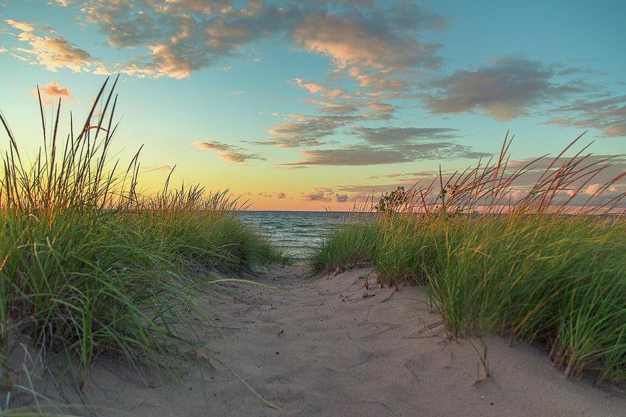 Sand Dune Photograph - Dune Path at Sunset by Jackie Novak