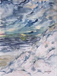 Seascape Painting - Dunes 2 seascape painting poster print by Derek Mccrea