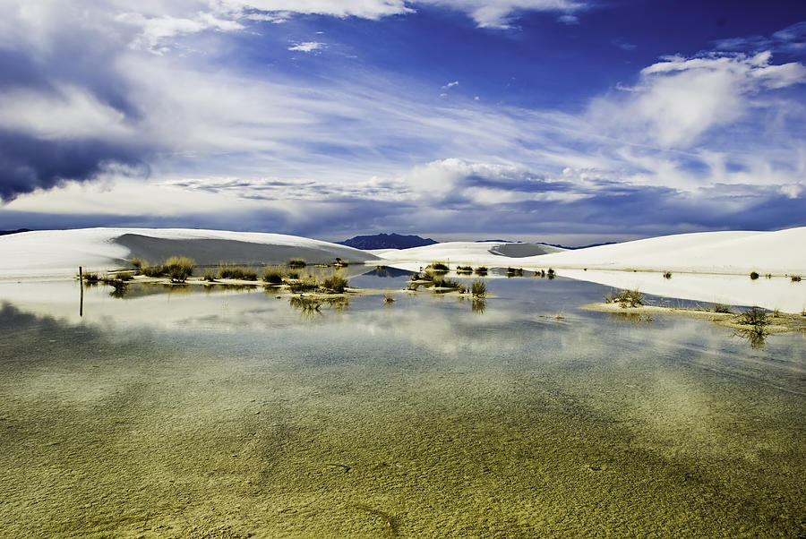 White Sands Photograph - Dunes And Reflections Three by Paul Basile