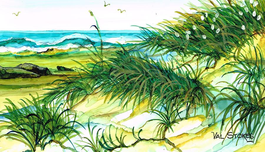 Dunes Painting - Dunes by Val Stokes