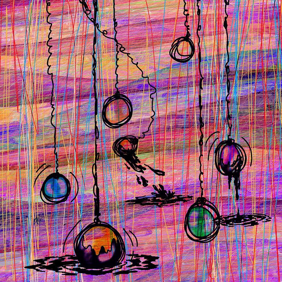 Abstract Digital Art - Dunking Ornaments by Rachel Christine Nowicki