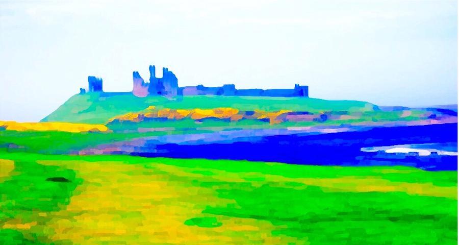 Castle Painting - Dunstanburgh Castle by Paul Jarvis