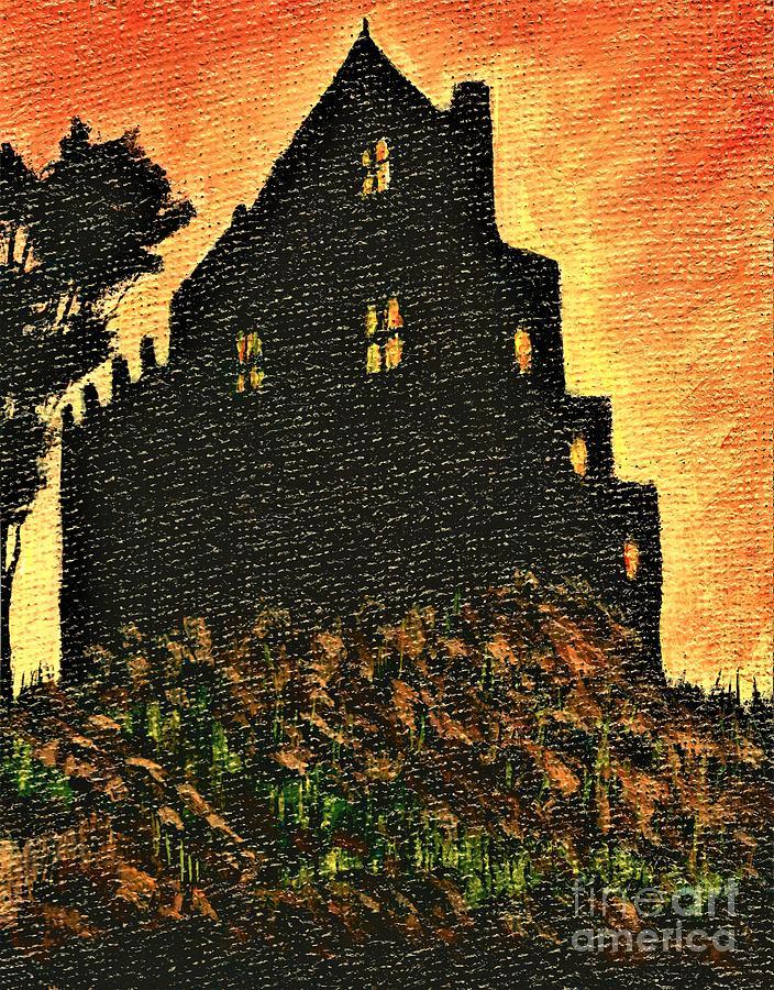 Duntrune Castle Argyll Scotland Painting by Allison Constantino