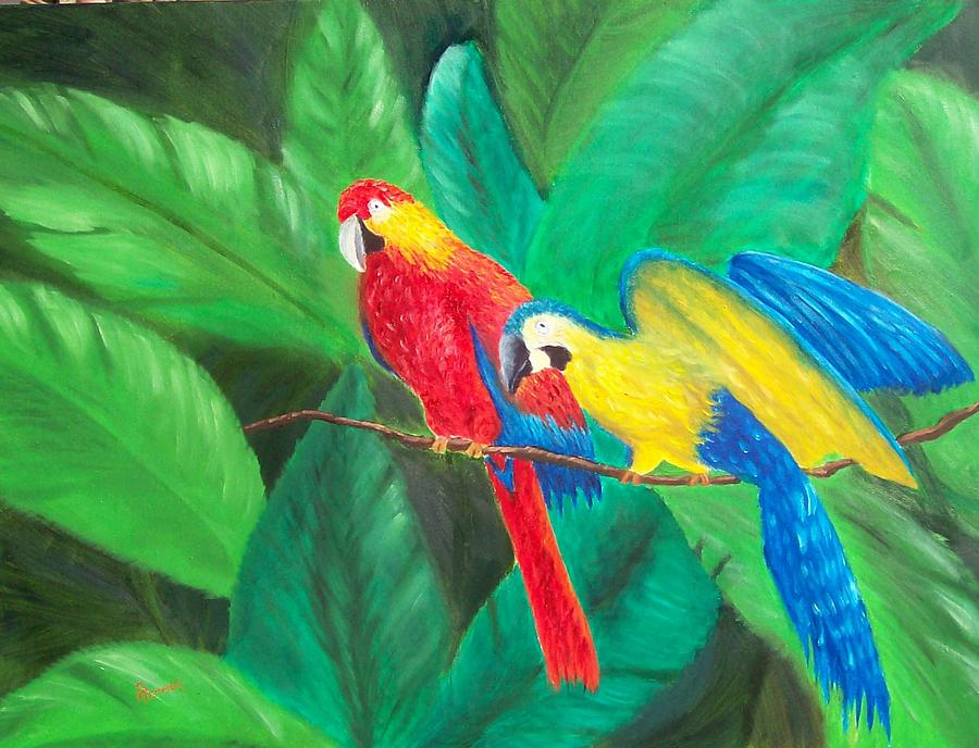 Birds Painting - Duo by Sandy Hemmer