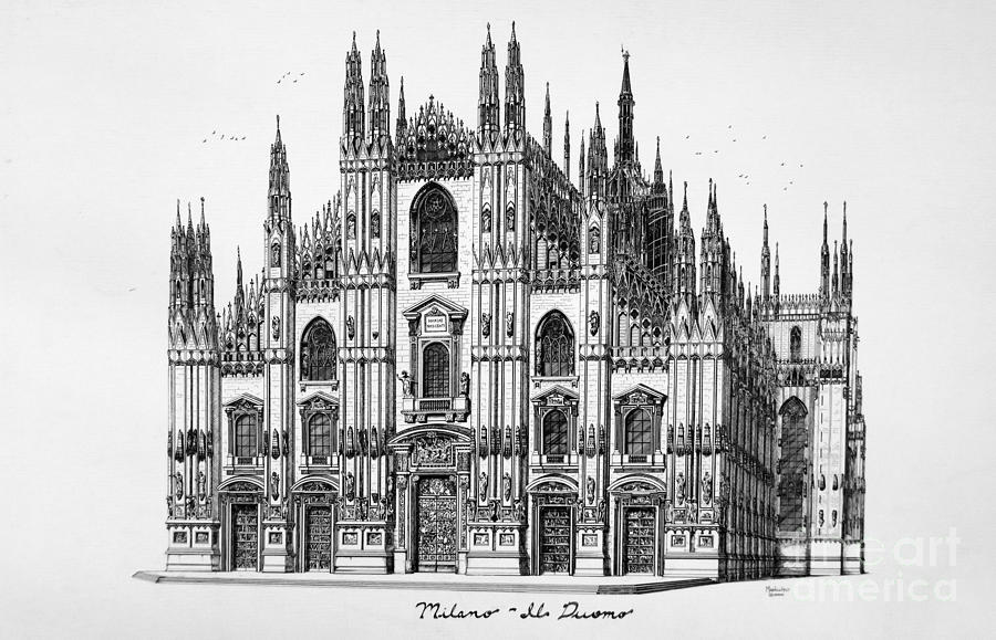 Duomo Drawing - Duomo Di Milano by Ed Mancuso