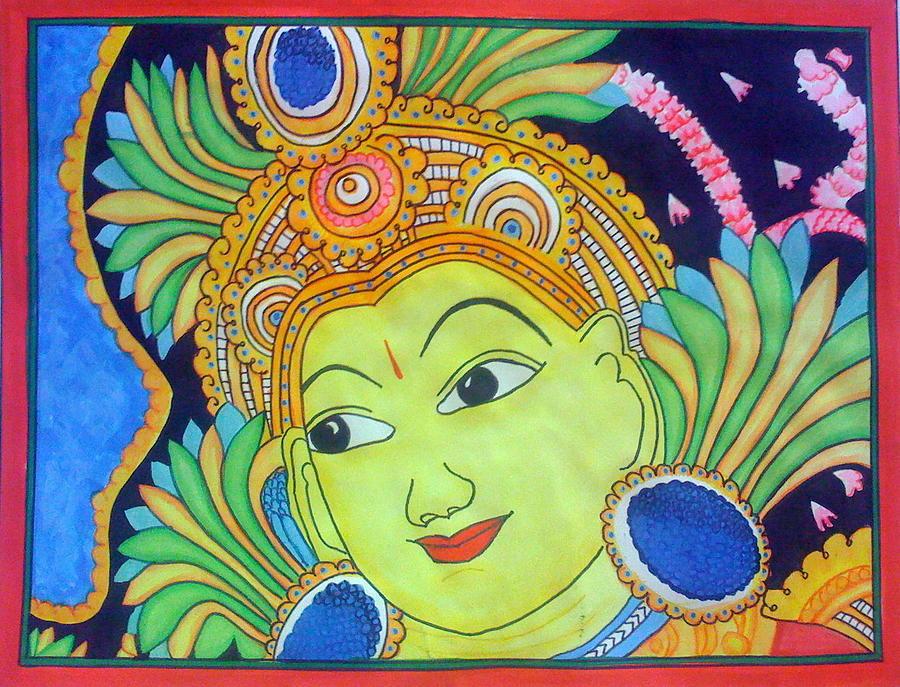Indian God Painting - Durga Face by Smitha Kamath