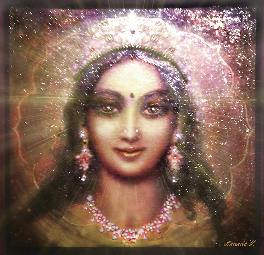 Goddess Painting Mixed Media - Vision Of The Goddess - Durga Or Shakti by Ananda Vdovic