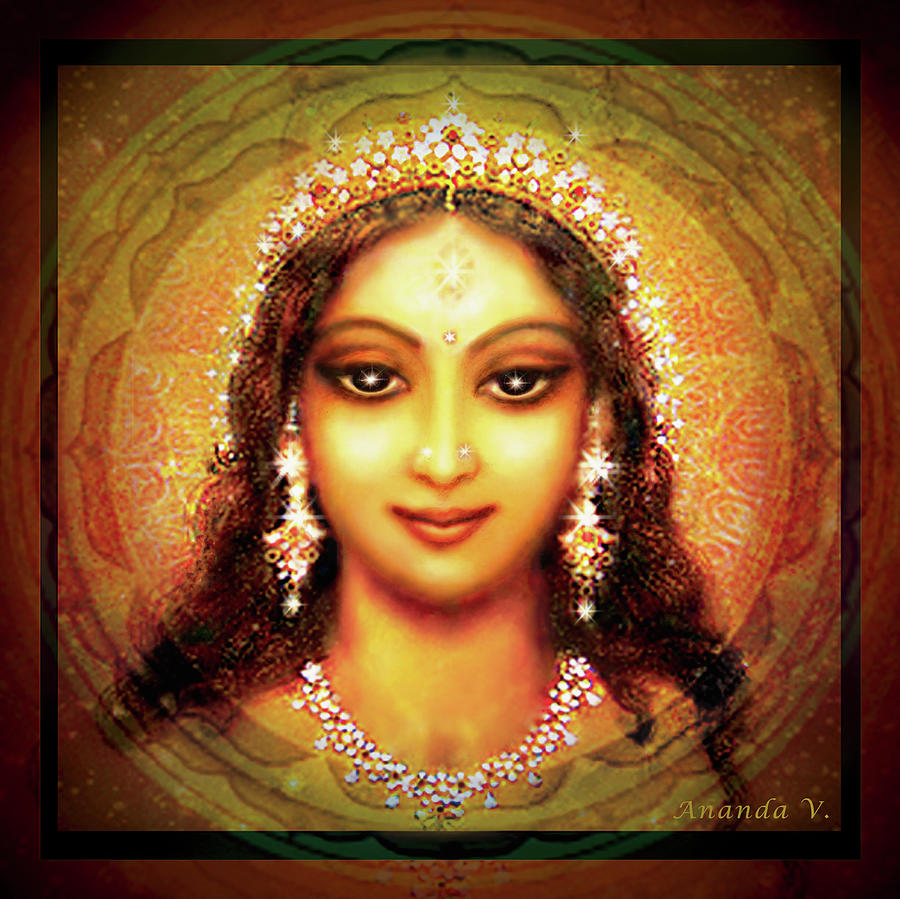 Goddess Painting Mixed Media - Durga In The Sri Yantra by Ananda Vdovic