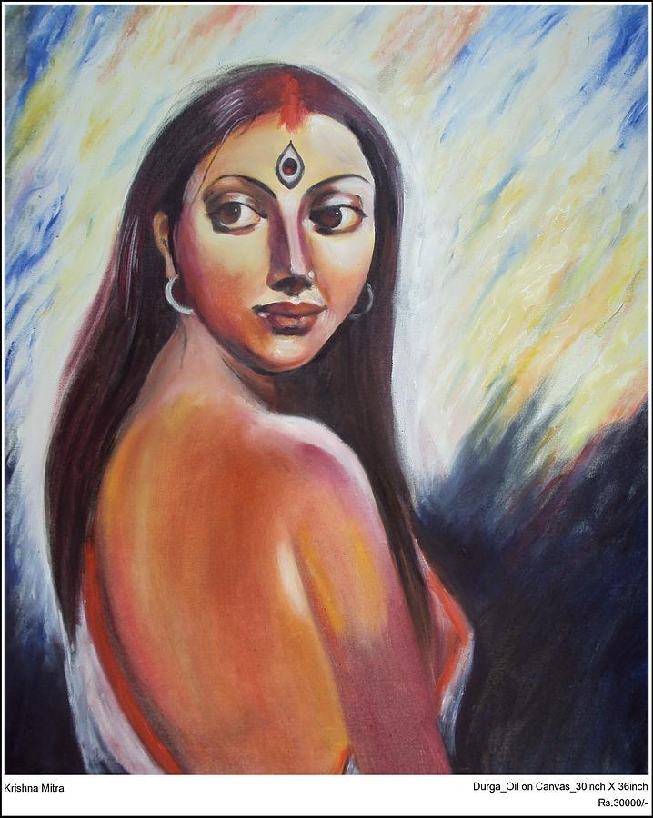 Contemporary Painting - Durga by Krishna Mitra