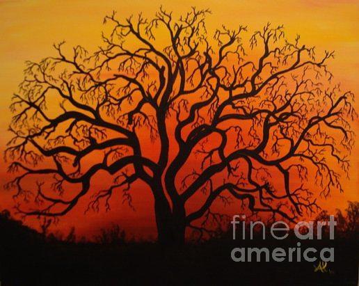 Tree Painting - Dusk by Al Borrego
