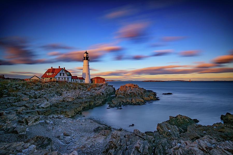 Portland Head Lighthouse Photograph - Dusk At Portland Head Lighthouse by Rick Berk