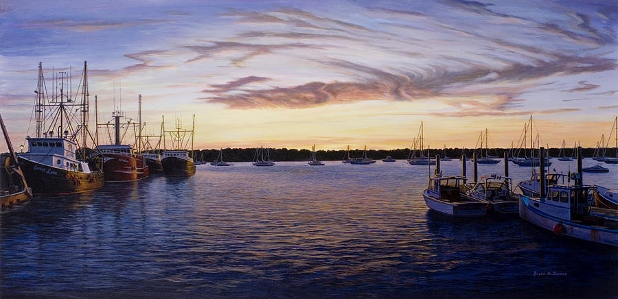 Boat Painting - Dusk At Stonington Harbor by Bruce Dumas