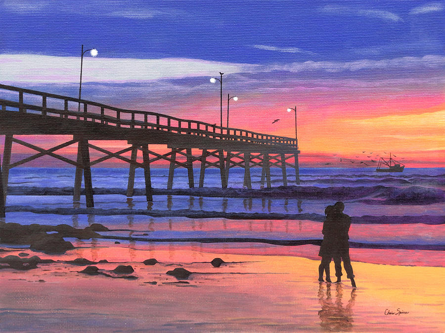 Beach Painting - Dusk At The Pier by Christopher Spicer