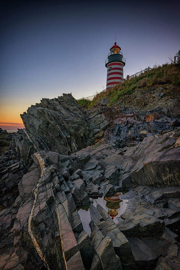 West Quoddy Head Photograph - Dusk At West Quoddy Head Lighthouse by Rick Berk