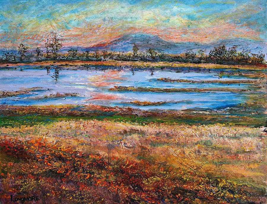 Art Painting - Dusk At Wildlife Refuge by Sandra Longmore
