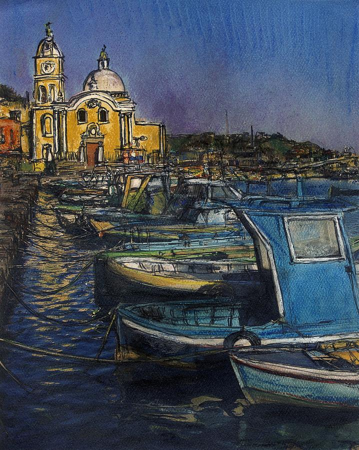 Fishing Painting - Dusk Falls Over Procida Fleet by Randy Sprout