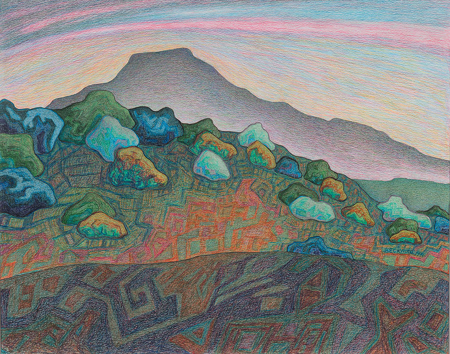 Dale Beckman Drawing - Dusk In The Valley Of The Shining Stone by Dale Beckman