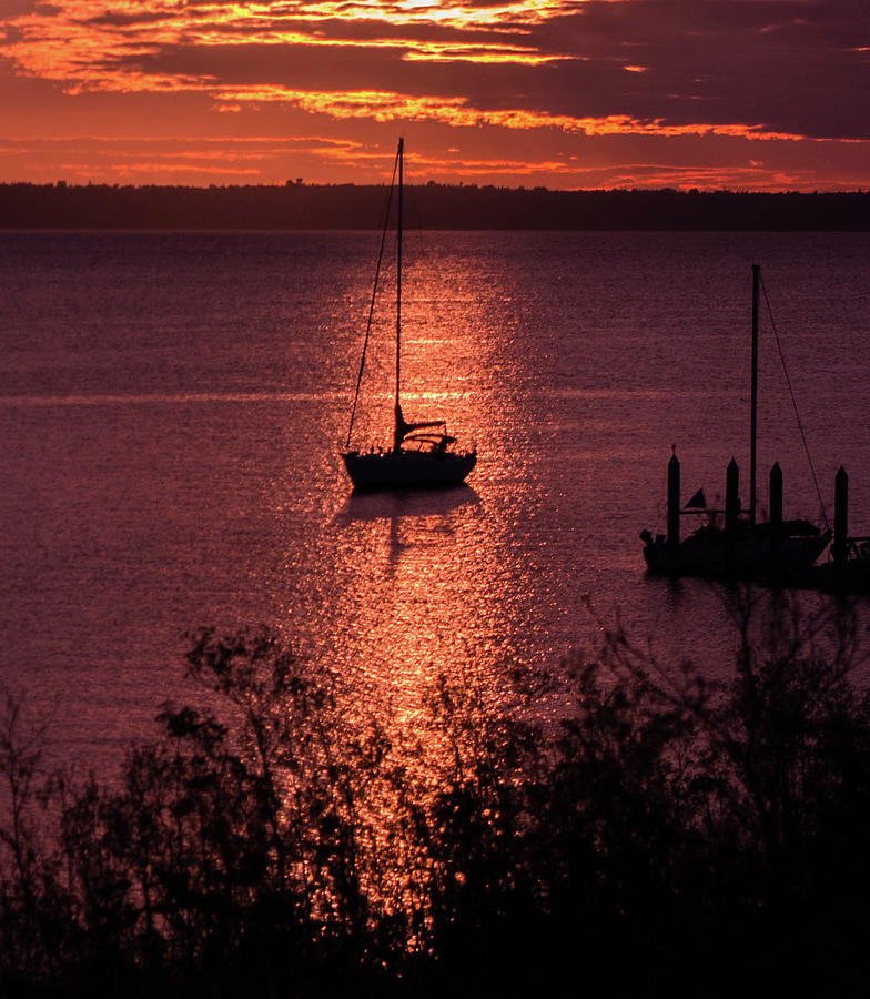 Bay Photograph - Dusk On The Bay by Teresa Herlinger