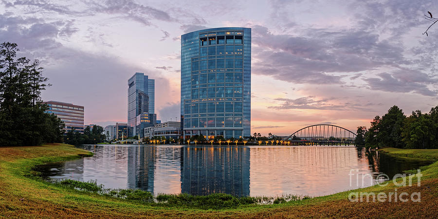 Houston Photograph - Dusk Panorama Of The Woodlands Waterway And Anadarko Petroleum Towers - The Woodlands Texas by Silvio Ligutti