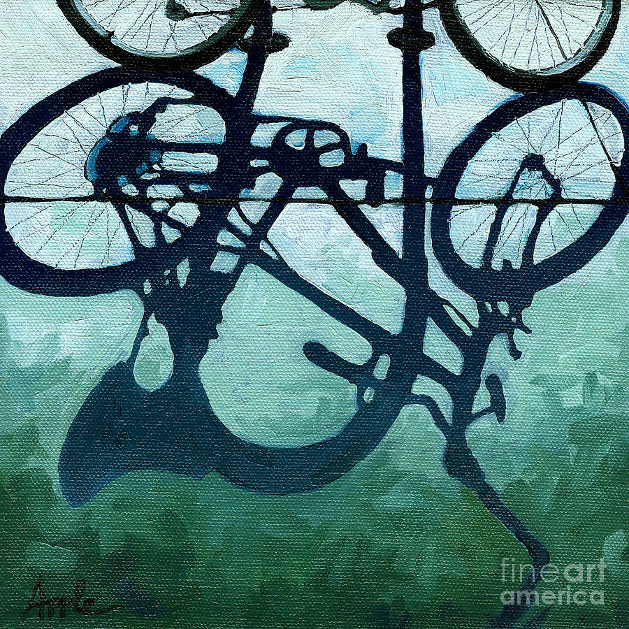 Blue Painting - Dusk Shadows - Bicycle Art by Linda Apple
