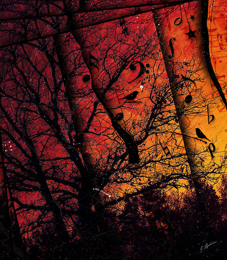 Abstract Music Digital Art - Dusk Song by Gary Bodnar