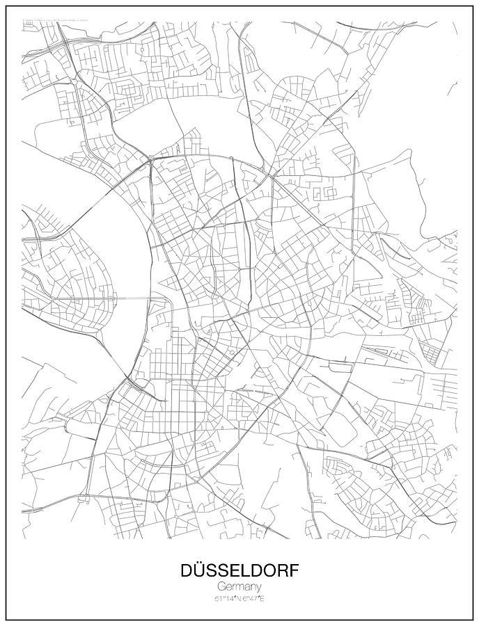Dusseldorf Minimalist Map Digital Art by Lori Hinner