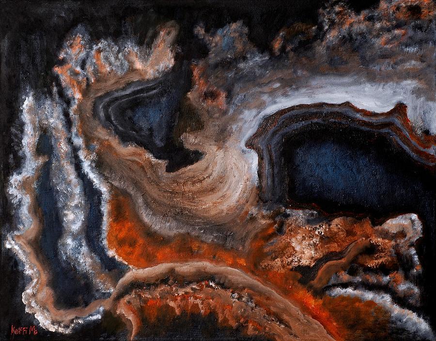 Abstract Painting - Dust by Koffi Mbairamadji