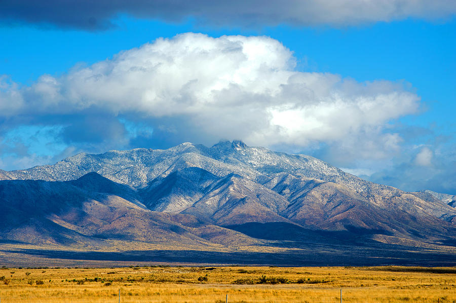 Mountains Photograph - Dusting Of Snow, Dos Cabezas by Brent Hall
