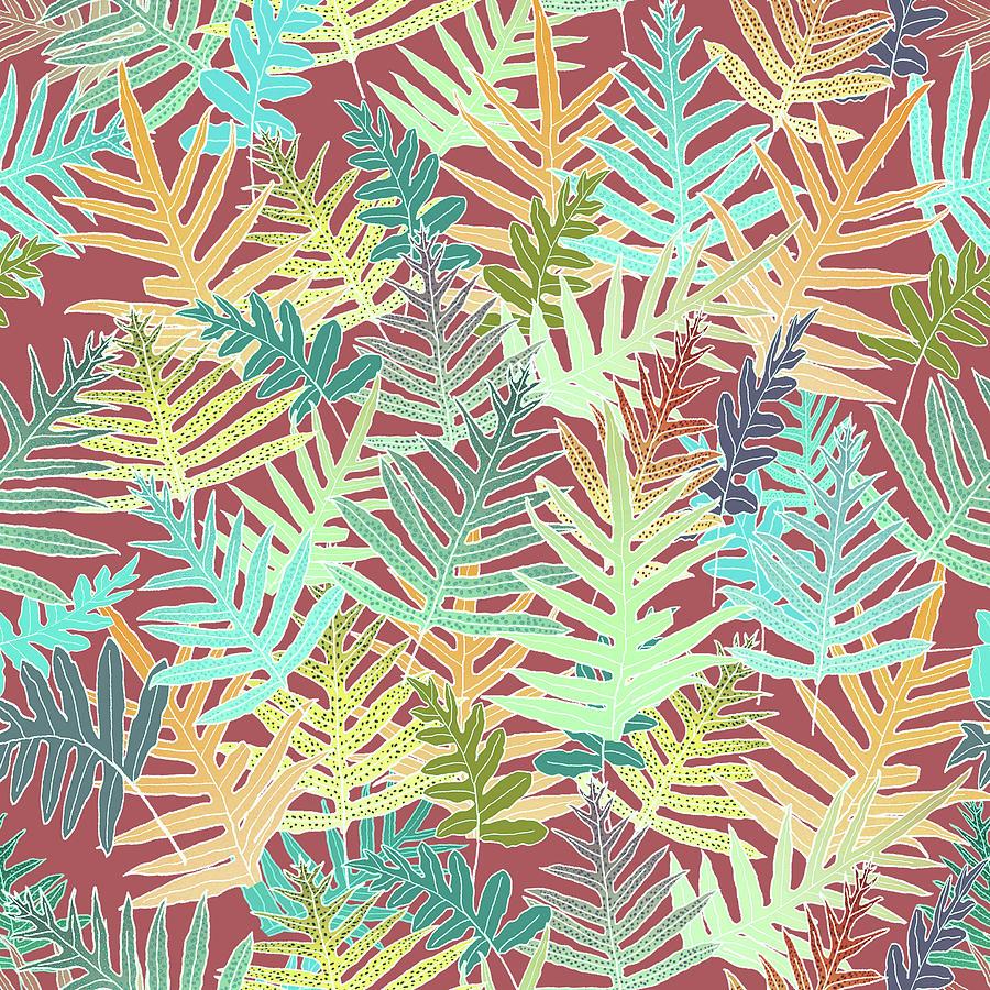 Dusty Cedar Ferns Aqua by Karen Dyson