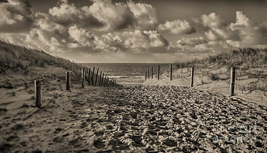 Dutch Beach in Sepia by Alex Hiemstra