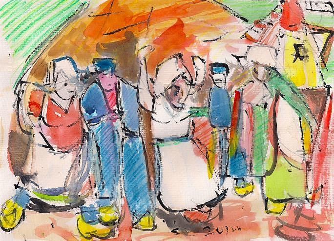 People Painting - Dutch Dancers. by Samuel Zylstra