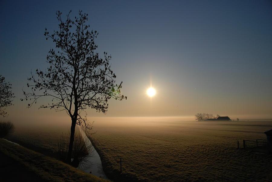 Dawn Photograph - Dutch Farm At Dawn by Hans Kool