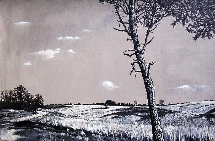 Duotone Painting - Dutch Heathland by Arie Van der Wijst