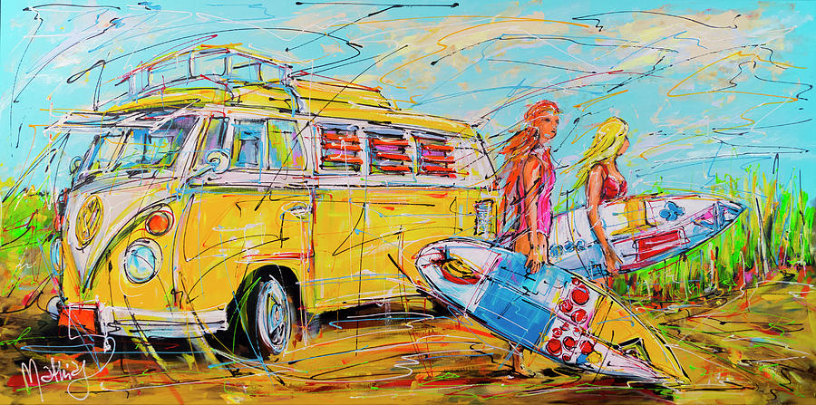 Holiday Painting - Dutch Holiday, Yellow Surf Bus by Mathias