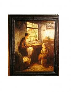 Dutch Mother And Child Interior Painting by Berg