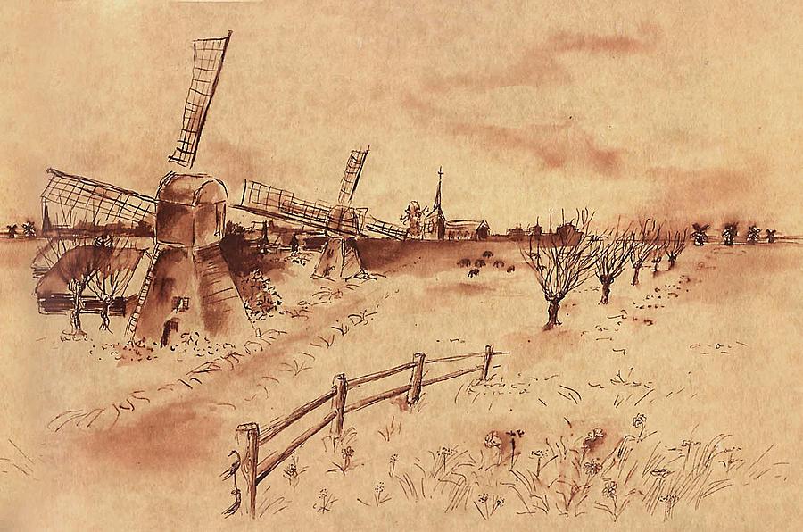 Windmill Drawing - Dutch Windmills by Ernestine Grindal