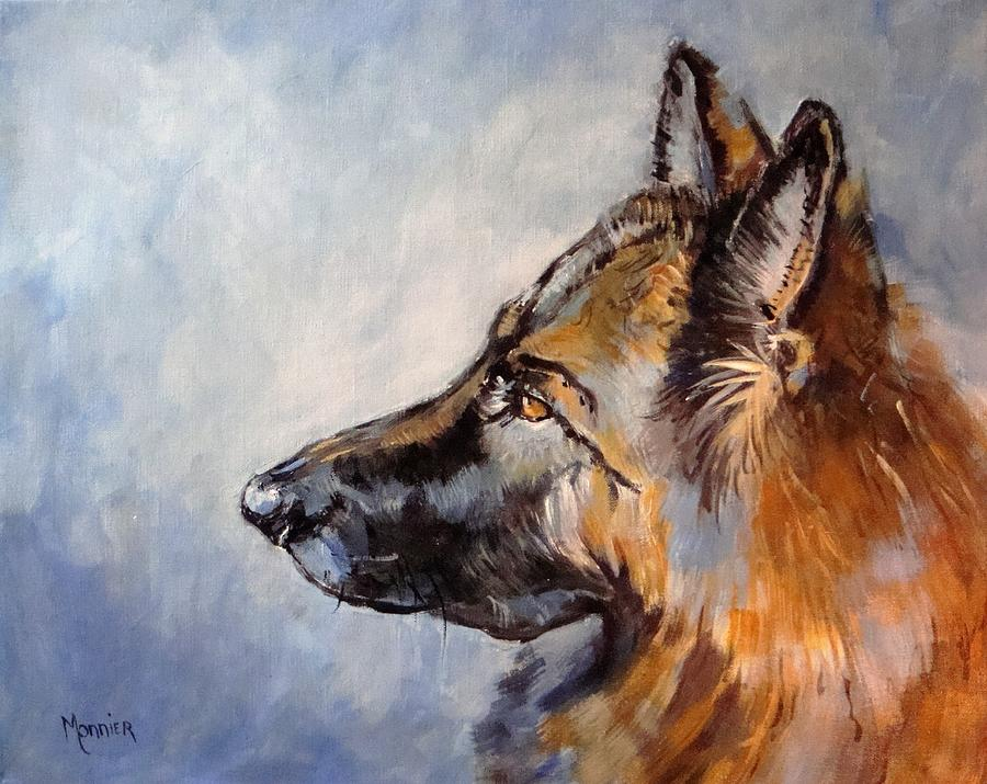 German Shepherd Painting - Dylann My Love My Angel by Cathy MONNIER